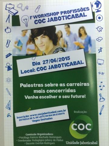 Cartaz do1º Workshop Profissões COC Jaboticabal (Imagem: Divulgação)