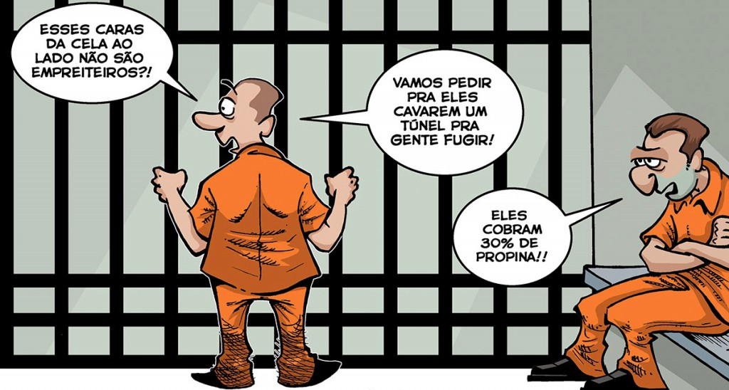 Charge mostra empreiteiros presos (Ilustração: Elson Souto)