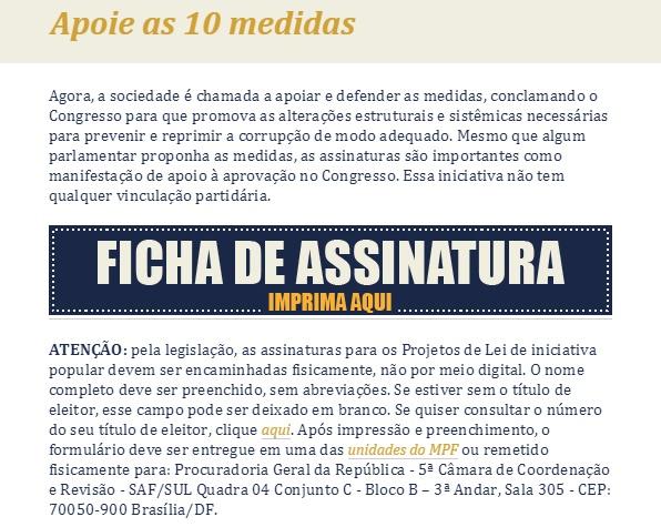 Na ficha de assinatura há 10 medidas contra a corrupção (Imagem: Corrupção Não/Divulgação)