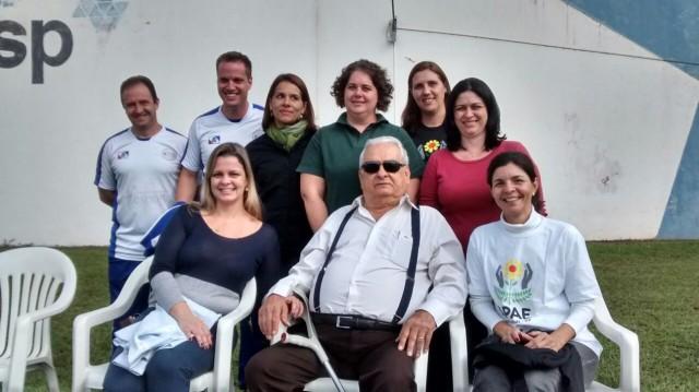 Toninho Bellodi (na cadeira ao centro) em evento esportivo da APAE que aconteceu em 2015 em Jaboticabal (Foto: Reginaldo Coelho/Jornal 101)
