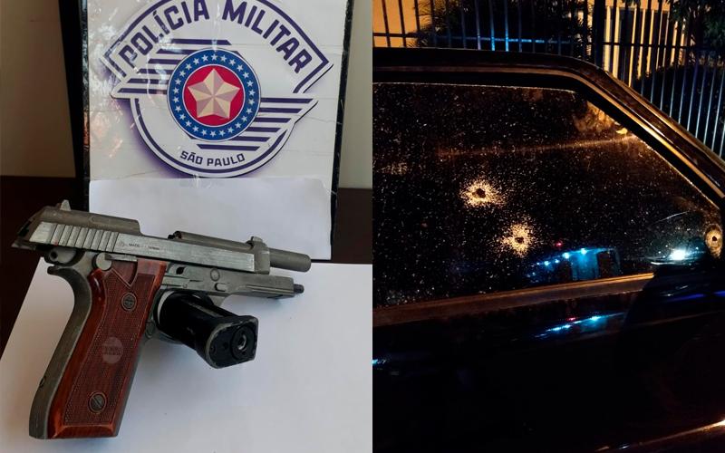 Caminhonete é alvejada a tiros na noite desta segunda-feira (01/06), em Jaboticabal; duas pessoas estavam no interior do veículo