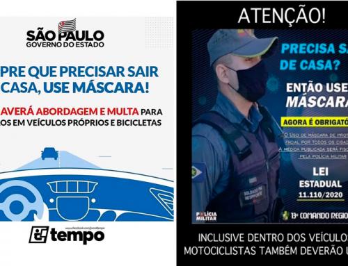 Motoristas do Estado de São Paulo NÃO SÃO obrigados a utilizarem máscaras enquanto dirigem; Capitão Tayar explica