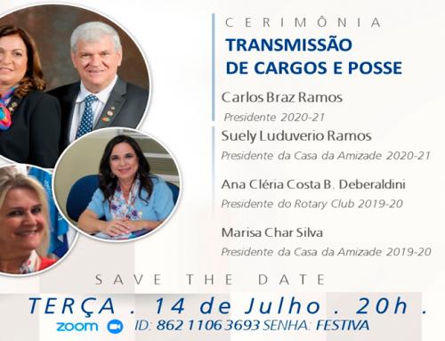 Transmissão de cargos e posse do Rotary Club acontece nesta terça-feira, 14, às 20h